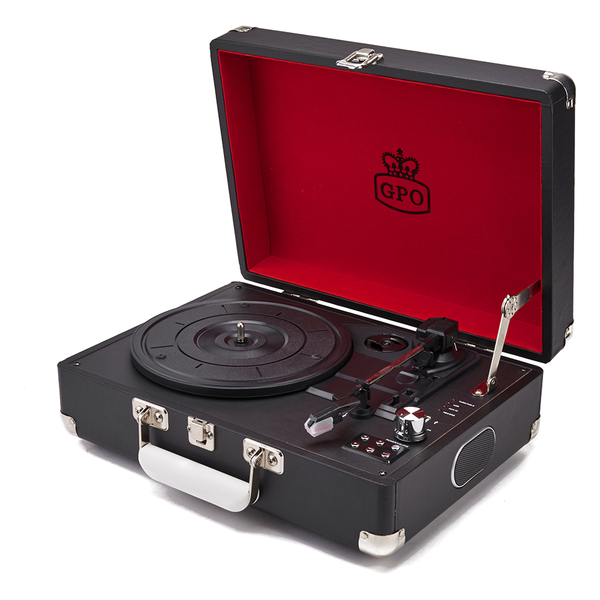 GPO Retro Attache Briefcase Style Three-Speed Portable Vinyl Turntable with Free USB Stick and Built-In Speakers - Black