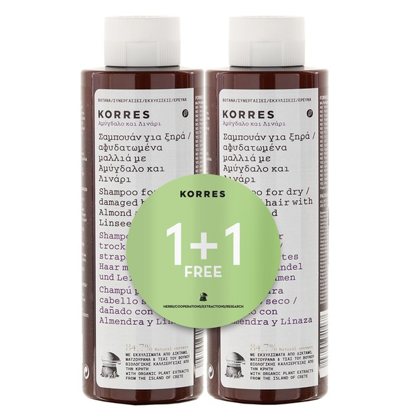 Korres Almond and Linseed Shampoo 1 + 1 (Worth £20)