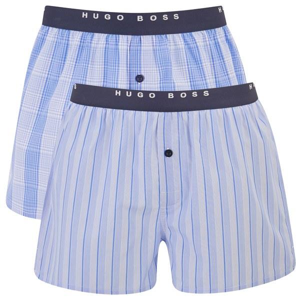 boss hugo boss men 39 s 2 pack cotton boxer shorts blue. Black Bedroom Furniture Sets. Home Design Ideas