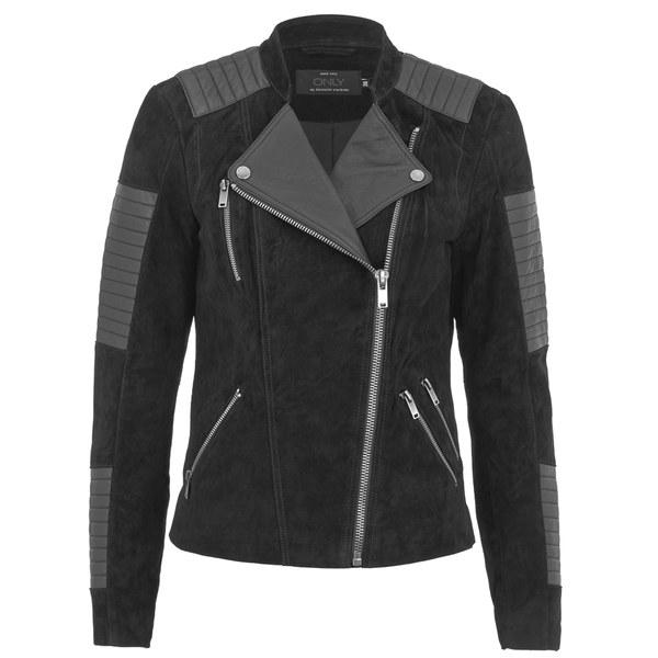 ONLY Womens Ava Suede Biker Jacket - Black Womens Clothing | TheHut