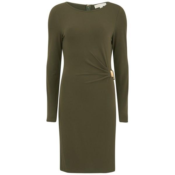 MICHAEL MICHAEL KORS Women's Long Sleeve Metal Plate Drape Dress - Duffle
