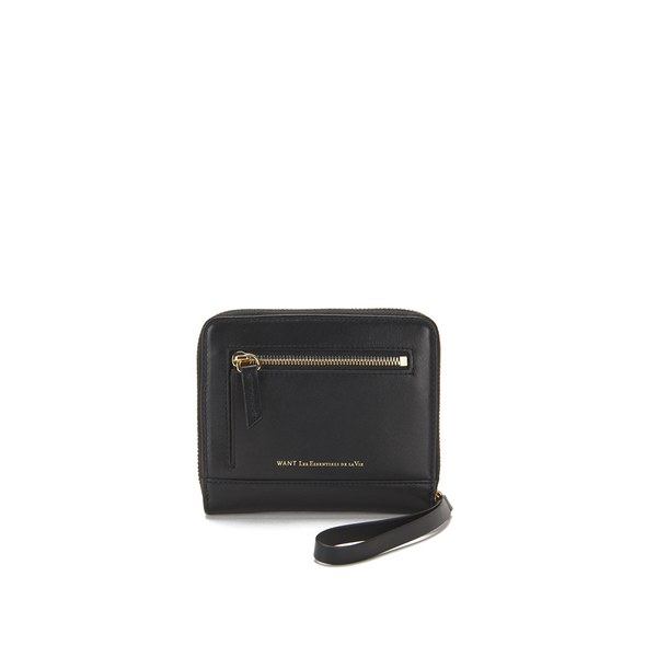 WANT LES ESSENTIELS Women's Portela Zip Wallet Jet - Black