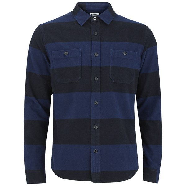 Edwin Men 39 S Heavy Flannel Striped Long Sleeve Shirt Navy