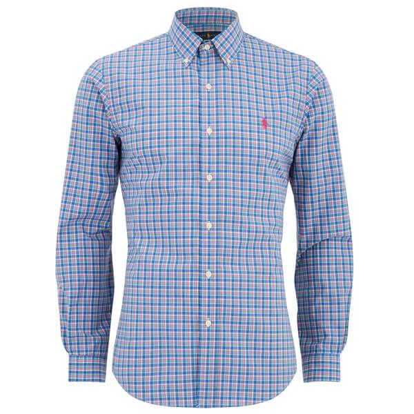 Polo Ralph Lauren Men's Slim Fit Checked Long Sleeve Shirt - Blue/Pink