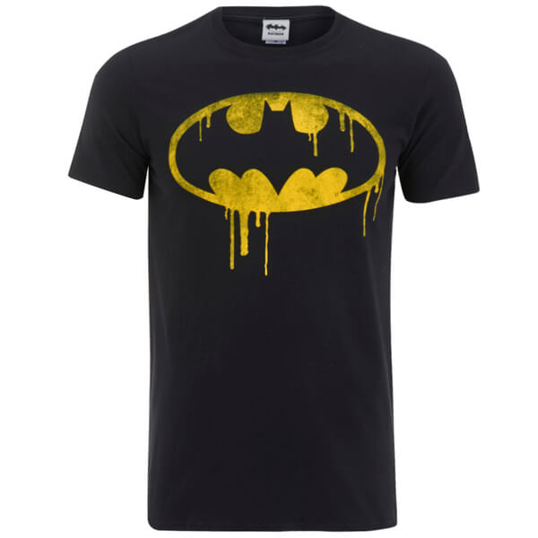 DC Comics Men's Batman Dripping Logo T-Shirt - Black