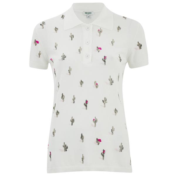 KENZO Women's Cartoon Cactus Print & Flock On Cotton T-Shirt - White