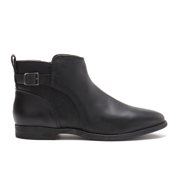 ugg s demi leather flat ankle boots black womens