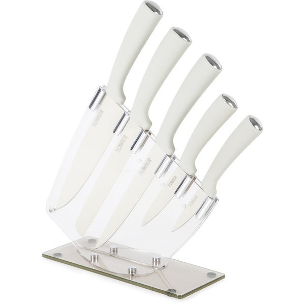 tower idt81500 5 piece knife set with acrylic stand. Black Bedroom Furniture Sets. Home Design Ideas