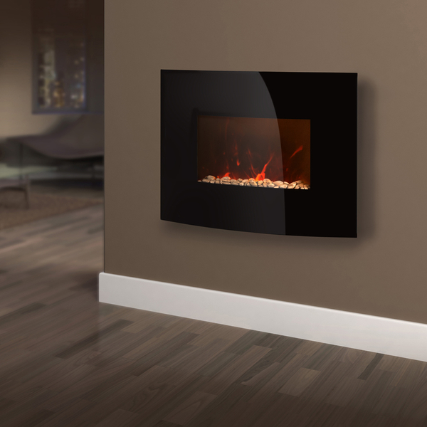 Warmlite wl45022 curved glass wall fire black iwoot for Curved glass wall