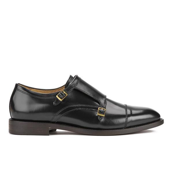 H Shoes by Hudson Mens Baldwin Hi Shine Leather Monk Shoes – Black