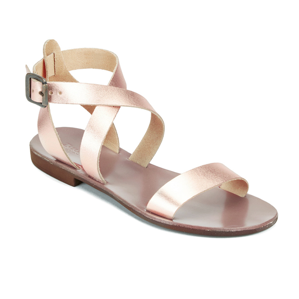 Dune Women S Lotti Leather Flat Sandals Rose Gold Womens
