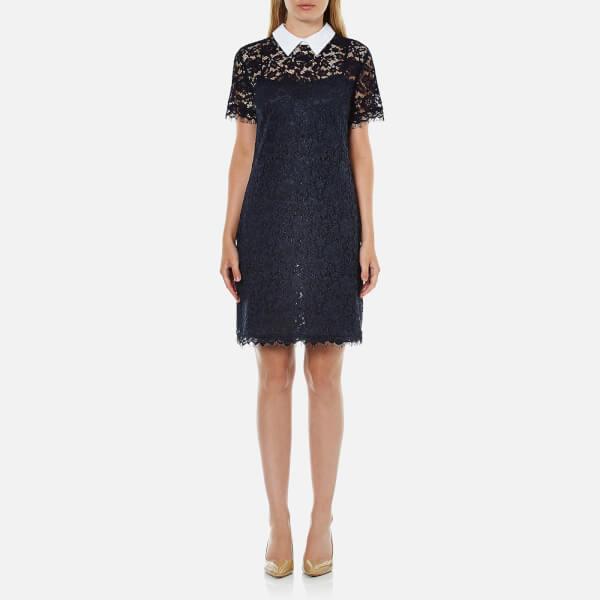 MICHAEL MICHAEL KORS Women's Collar Lace T-Shirt Dress - New Navy