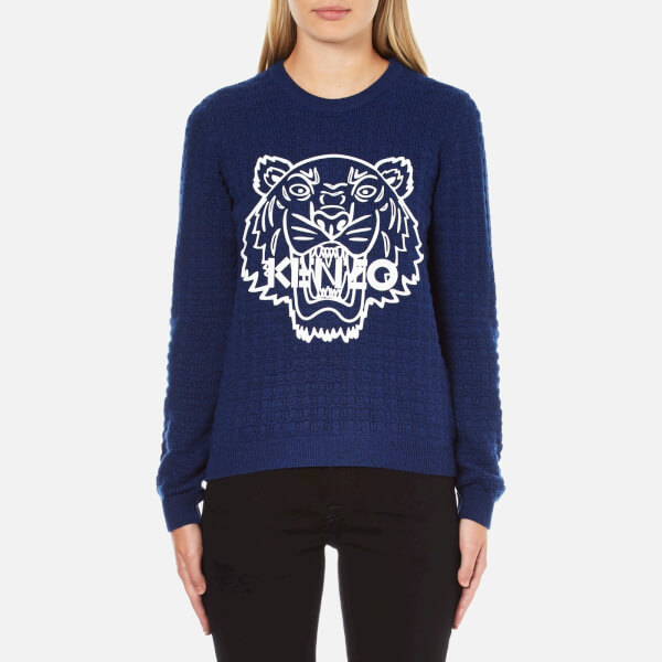 KENZO Women's Tiger Rubber Logo On Cable Knitted Jumper - Ink