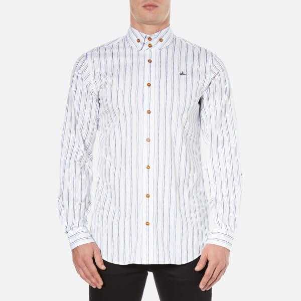 Vivienne Westwood MAN Men's Printed Oxford Two Button Krall Shirt - White Stripe