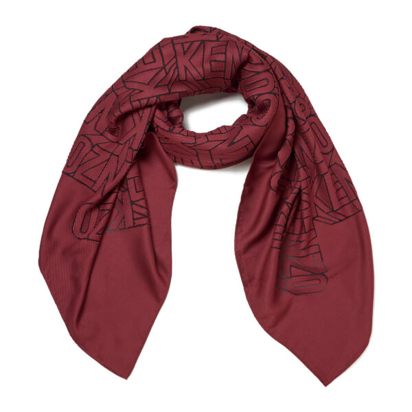 KENZO Women's High End Icons Flying Logo Devore Scarf - Bordeaux