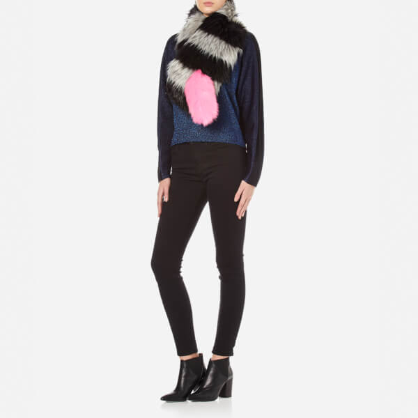 Charlotte Simone Women's Popsicle - Black and Charcoal Grey Stripe/Pink Tail