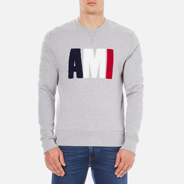 AMI Men's AMI Logo Crew Neck Sweatshirt - Heather Grey