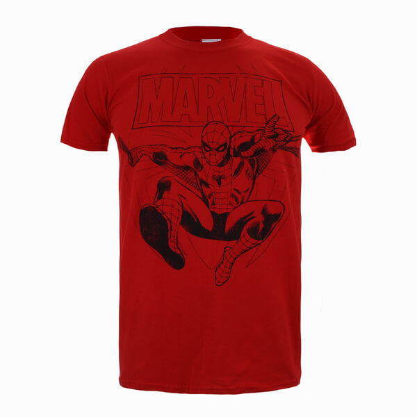 Marvel Spiderman Lines Men's T-Shirt - Red