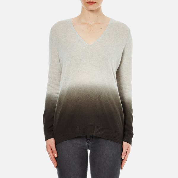 Theory Women's Adrianna Cashmere Jumper - Soft Grey/Moss