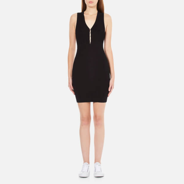 T by Alexander Wang Women's Viscose Flat Back Rib Knitted Hook and Eye Tank Dress - Black