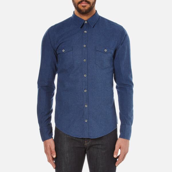 BOSS Orange Men's Edoslime Flannel Shirt - Dark Blue