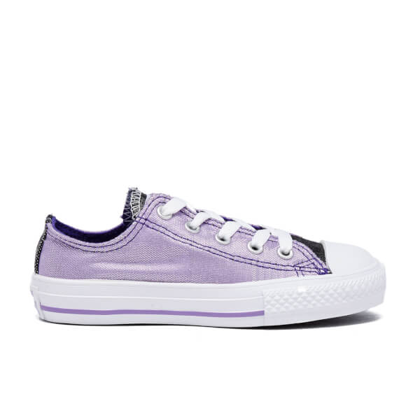 Converse Kids' Chuck Taylor All Star Shimmer OX Trainers - Frozen Lilac/Candy Grape/White