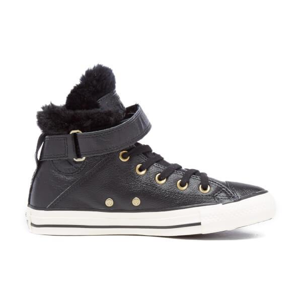 Converse Women's Chuck Taylor All Star Brea Leather Fur Hi-Top Trainers - Black/Black