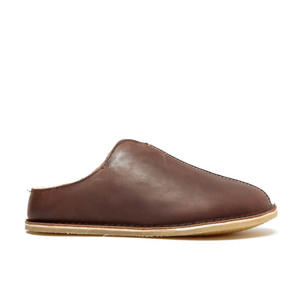 Clarks Men's Kite Stitch Leather Slippers - Brown