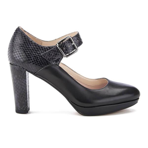 Clarks Women's Kendra Gaby Leather Mary Jane Heels - Black Combi