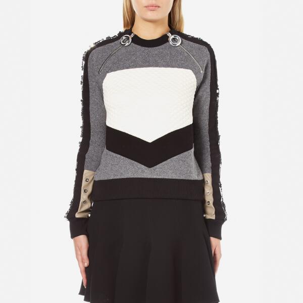 Carven Women's Zip Pull Neck Sweatshirt with Sequin Sleeves - Grey/Black/White