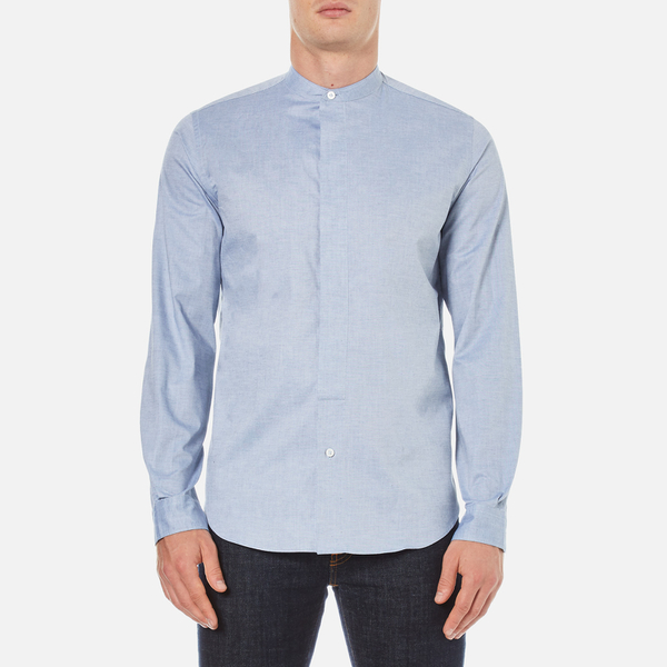 PS by Paul Smith Men's Grandad Collar Shirt - Blue