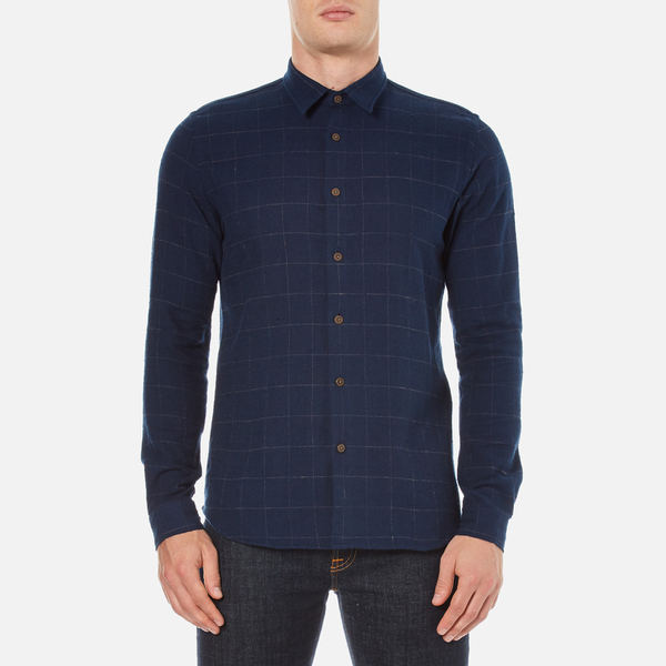 Folk Men's Checked Long Sleeve Shirt - Navy Window Pane