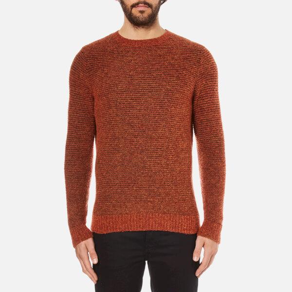 Folk Men's Textured Knitted Jumper - Rust