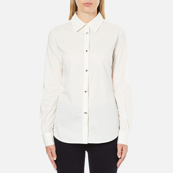 Love Moschino Women's Silver Heart Pendant Shirt - White