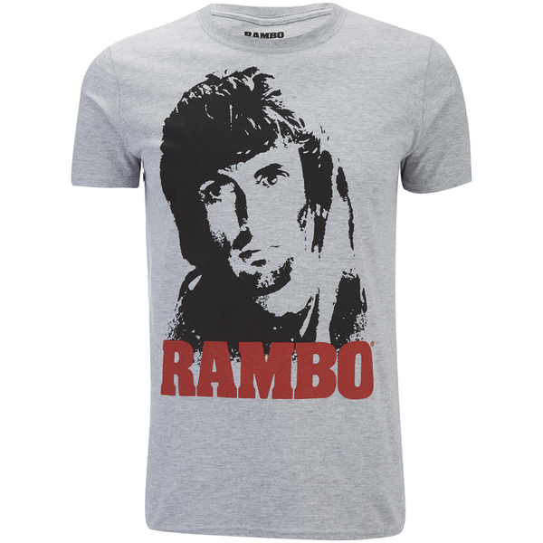 Rambo Men's Face T-Shirt - Grey Marl