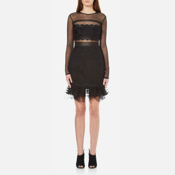 Three Floor Women's Stargate Floral Lace Dress with Mesh Sleeves - Black