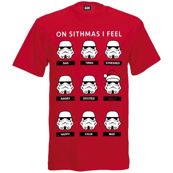 Star Wars Men's Stormtrooper Emotions Christmas T-Shirt - Red