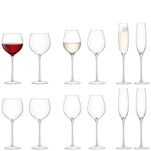 LSA Aura Handmade Wine and Champagne Clear Glass Starter Set