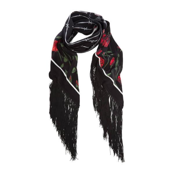 Rockins Women's Roses Classic Fringed Scarf - Black