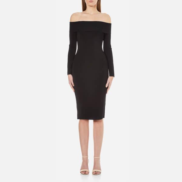 T by Alexander Wang Women's Rayon Off The Shoulder Long Sleeve Dress - Black