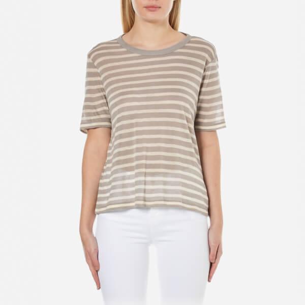T by Alexander Wang Women's Rayon Linen Stripe Short Sleeve Cropped T-Shirt - Butter/Taupe