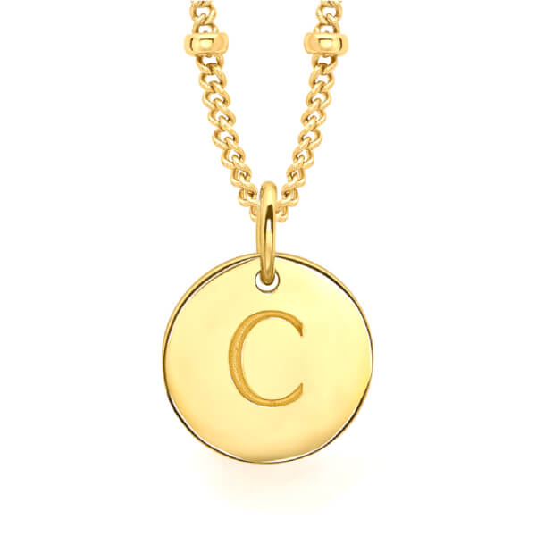 Missoma Women's Initial Charm Necklace - C - Gold