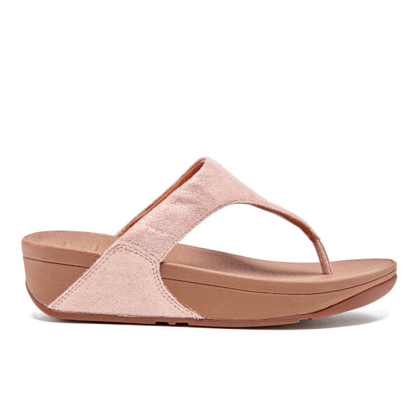 FitFlop Women's Shimmy Suede Toe-Post Sandals - Rose Gold