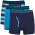 Crosshatch Men's Neonic Striped 3-Pack Boxers - Neon Blue/Dress Blue