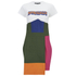 House of Holland Women's Cotton Drill Patchwork T-Shirt Dress - Green Multi: Image 1