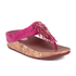 FitFlop Women's Cha Cha Leather/Suede Tassel Toe Post Sandals - Bubblegum: Image 3