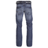 Crosshatch Men's New Embossed Techno Straight Fit Jeans - Stone Wash: Image 2