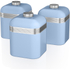 Swan SWKA1020BLN Retro Set of 3 Canisters - Blue: Image 1