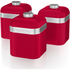 Swan SWKA1020RN Retro Set of 3 Canisters - Red: Image 1