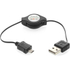 Kit USB to Micro USB Retractable Data & Charge Cable - Black: Image 1